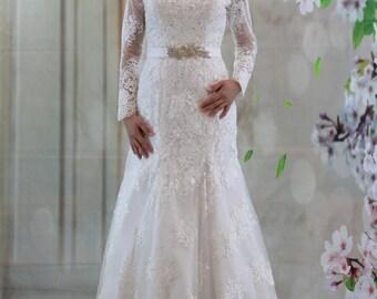 Elegant Sweetheart Off Shoulder Long Sleeves Full lace Mermaid Wedding Dress