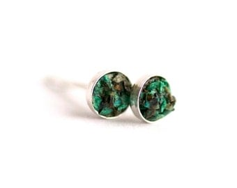 4mm Raw Chrysocolla Earrings. Chrysocolla Earrings. Chrysocolla Studs. Chrysocolla Stud Earrings. Studs. Stud Earrings. Green Chrysocolla.