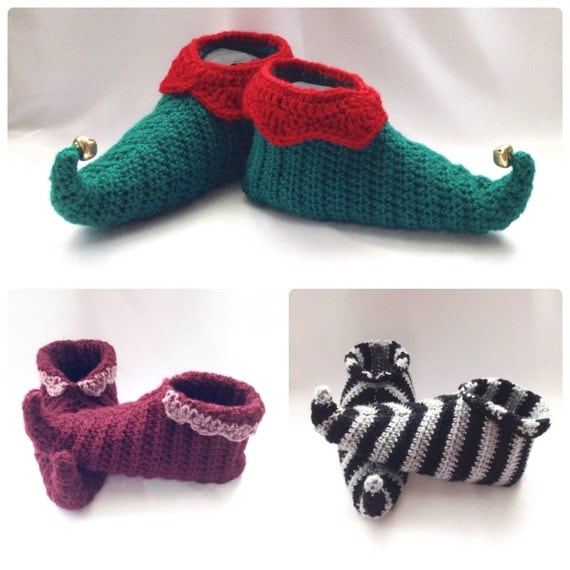 Knitting Pattern For Elf Slippers : Curly Toes Elf Slipper Shoes Crochet PDF by HookedoPatterns