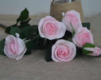 Baby Pink Real Touch Silk Roses Spray DIY Wedding Centerpieces Silk Bouquets-5 flowers each spray