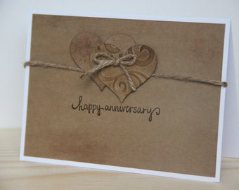 Anniversary Card. Happy Anniversary Card. Rustic Anniversary Card.  Handmade Anniversary Card. Primitive Card. Kraft Card. Heart Card
