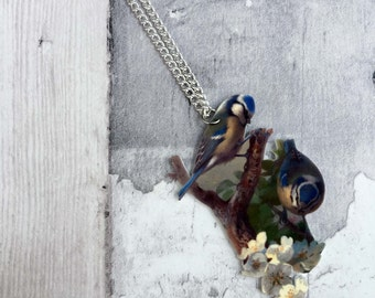 Blue Tits and Cherry Blossom Bird Necklace