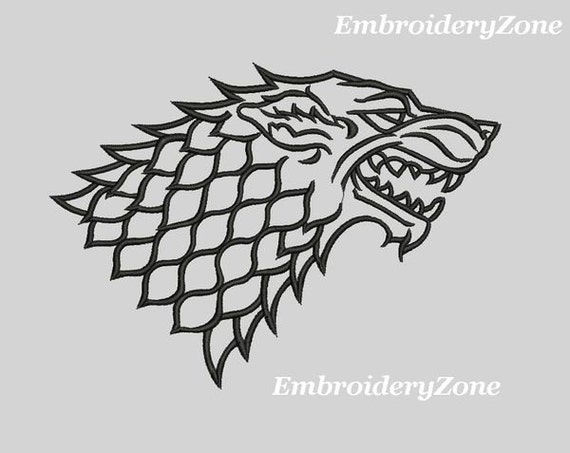 logo house stark game of thrones embroidery design for