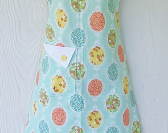 Mint Green Floral Apron, Lacy Floral Cameos, Orange, Teal, Yellow, Retro Full Apron, KitschNStyle