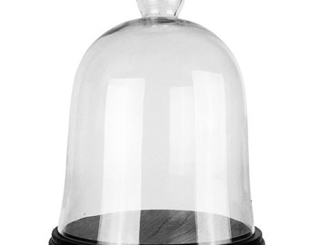 Glass Bell Cloche with Black Wooden Base (including Black Wood Base) #GCL101/16-WB001/11BK
