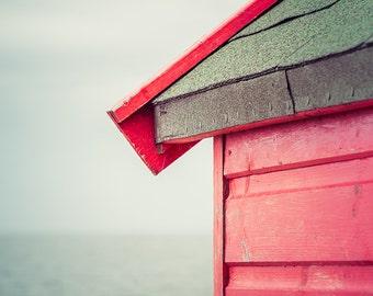 "Beach Hut Photograph - Beach Photography - Seaside Decor - Summer - Beach House Decor - Coastal Decor - Wall Art - Red -  ""Dreamy Sea"""