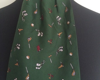 Vintage Retro 1950s 1960s Green Golf Print All Silk Ascot Tie Cravat - Made in England - - Father's Day Gift, Dad Gift