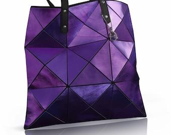Metallic Purple Leather Tote, Leather Handbag with pockets, Leather Bag, Women Tote Bag, Metallic Leather Bag, Designer Lining leather tote,