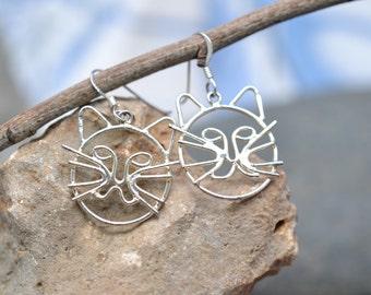 Sterling Silver Open Kitty Cat Outline Wire Dangle Earrings