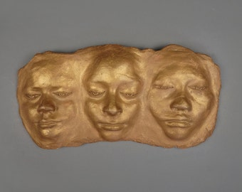 Vintage Wall Art Ceramic Faces Sculture Wall Hanging Golden Color Human Face Hand Made