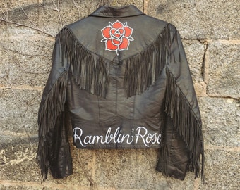 Ramblin' Rose handpainted leather jacket