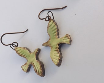 Bird earrings, ceramic earrings, ceramic bird earrings, animal earrings, bird jewellery, animal jewellery