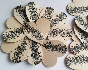 wooden Quote Hearts - Henna inspired