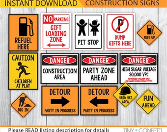 construction signs, construction party signs, construction birthday signs, construction birthday decor, construction party decorations