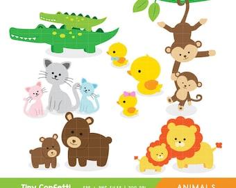 baby animals clipart, safari clipart, safari animals clip art, baby animals with mom clipart, monkey, lion, rubber duck, cat, bear, cub, eps