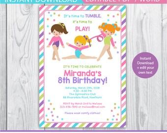 gymnastic birthday invitation, gymnastic invitation, gymnastic birthday party, gymnastic birthday, gymnastic printable, pink purple green