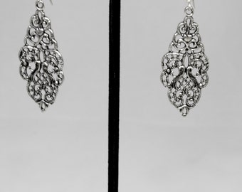 Sterling Silver Filigree Earrings with an Antique Finish