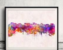 Hobart skyline in watercolor background - Fine Art Print Glicee Poster Gift Illustration Colorful - SKU 1520