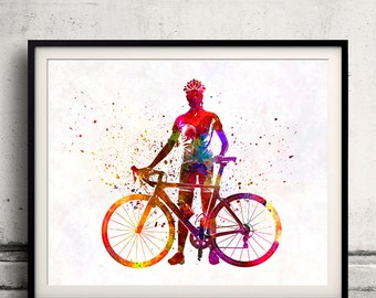 Woman triathlon cycling 02 - Fine Art Print Glicee Poster Home Watercolor sports Gift Room Illustration Wall - SKU 2357