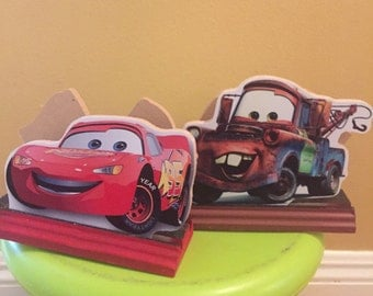 Cars Inspired Napkin holder, Mcqueen and Mater centerpieces
