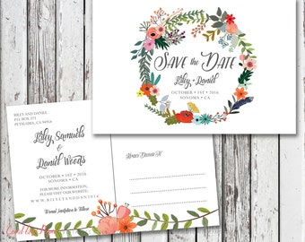 Save the Date Card, Printable Save the Date Postcard, Rustic Save the Date, Boho Save the Date Card, Floral, The Kenwood Collection