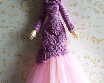 New Price - Cotton evening dress and tulle pink and mauve, doll Lillycat Cerisedoll body classic V2
