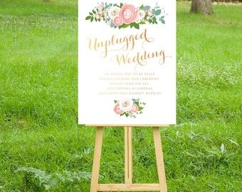 The JENNY . Unplugged Wedding Sign . PRINT or PDF, Shipping Included. Rose Gold Copper Calligraphy . White Roses Blush Peonies Dusty Miller