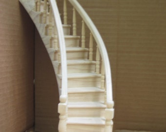 Miniature Curved Dollhouse Staircase Spiral Staircase in 1:12 scale Premium Quality