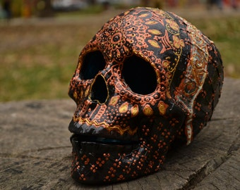 Unique Handmade Black Gold Detailed Mexican Folk Art Day of the Dead Ceramic Glow Sugar Skull MADE TO ORDER