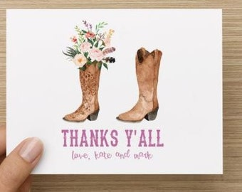 Bridal Shower Thank You Card. Cowboy and Cowgirl themed boots.  Personalized.  Multiple pack sizes available!