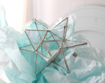 mini 12 point Moravian star, stained glass star, star decor, bohemian decor, stained glass, garden decor, glass art, star hanging