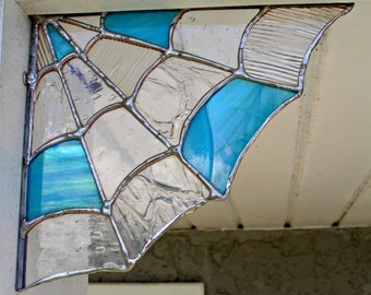 Stained Glass Spider Web Corner,Home decor, Garden decor, spider web decor, Halloween decor, stained glass, goth, wiccan , wicca, chakra,