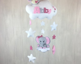 Baby mobile - owl and elephant mobile - namelove collection - name mobile - baby name - owl mobile - elephant mobile / cloud mobile - star
