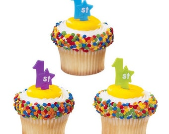 24 First Birthday Cupcake Picks 1st Cake Toppers Party Supplies Bakery Decorations