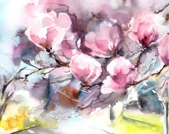 Magnolia art print, watercolor painting print, fine art print of pink blooming branch, spring, bright wall art by CanotStopPainting