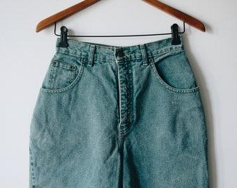 90s high waisted denim shorts, size 26