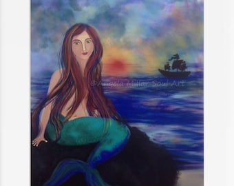 Mermaid print - Mermaid art - Mermaid home decor - Mermaid wall art - Mermaid fantasy art - Mermaid gifts - Siren of the sea - Siren song