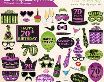 70th Birthday Party Photo Booth Prop, Seventy Birthday Party Printable, Seventieth Birthday Party Printable, Turning Seventy Party Prop