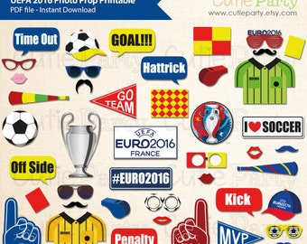 Euro 2016 Themed Photo Booth Prop, Champion League Themed Photo Booth Prop Printable, UEFA 2016 Photo Prop, Soccer Themed Party Printable