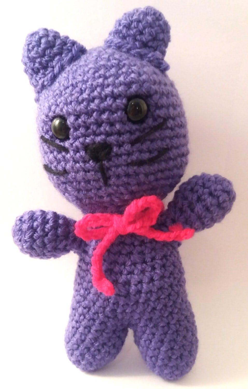 Amigurumi Crochet Toys : Amigurumi cat crochet toy purple cat animal toys cat