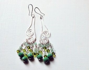Long green earrings