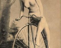 RARE 1900s Victorian-Edwardian Original Antique Photo Postcard Erotic Risqué Nude Naked Woman Studio Portrait in Fancy High Wheel Bicycle!!!