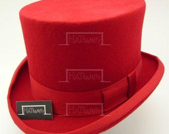 VINTAGE Wool Felt Formal Tuxedo Topper Top Hat - Red