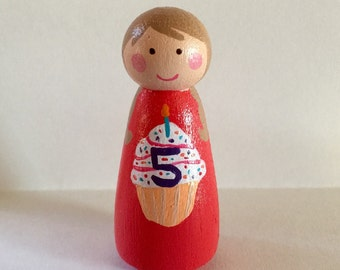 Birthday cake topper - peg doll girl - cake decoration - Happy Birthday - personalized gift - custom doll - birthday doll - cupcake topper