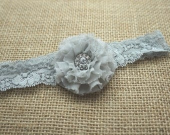 Newborn lace headband, Grey flower lace headband, Grey lace headband for baby, Grey lace headband for Girls, Lace stretch headband