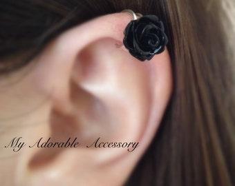 Silver Flower/Rose Upper Cartilage Ear Cuff