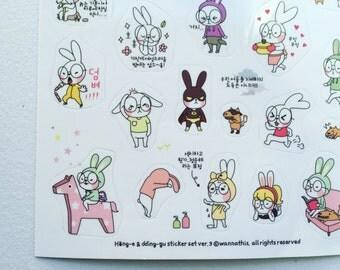 Rabbit Stickers, Kawaii Planner Stickers, Diary Stickers, Scrapbooking Stickers, Card Embellishment, Filofax Stickers, Korean Deco Stickers