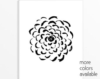 Minimalist art, Flower print, Black and white wall art, Flower painting, Large wall art, Modern art prints,Printable, 5x7, 8x10 & 11x14, 231