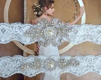 Wedding Garter Set, Bridal Garter Set, Ivory Lace Garter, Blue Garter, Something Blue, Joanna Style 10136
