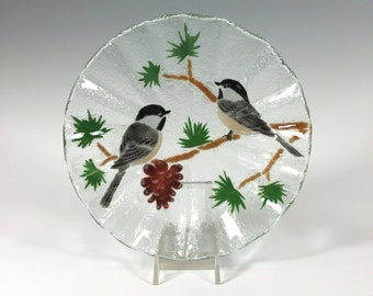 Chickadee Bowl Fused Glass Chickadee Candy Dish